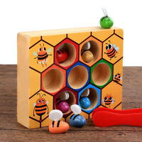 Children Preschool Wooden Bee Clip Out Montessori Educational Toy B-day Gift