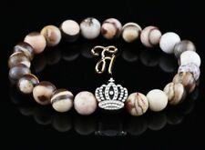 Zebra Jasper 0 5/16in Bracelet Pearl Bracelet Silver Coated Crown