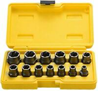 Impact Wrench Bolt Nut Extractor Set of 13 Remover Damaged Rusted Socket Tools
