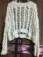 NWT Zara Women's Knitwear Collection Textured Crop Ivory Sweater Size Small