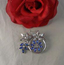 Vintage Blue & White Rhinestone Flower Pin Brooch Cat Rescue