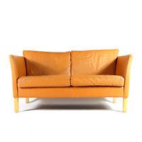Retro Vintage Danish Tan Leather 2 Love Seat Seater Sofa 1960s Mid Century Oak
