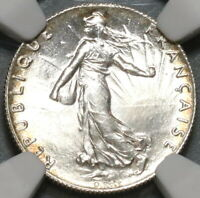 1919 NGC MS 65 France 50 centimes BU Silver Sower Coin (20012705C)