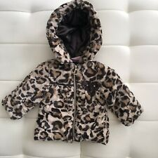 Pistachio Baby Girls Faux Fur Hooded Jacket Animal Print Full Zipper Sz 9 Month