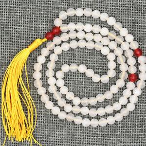 6mm White Jade 108 Bead Tassel Necklace Cuff Yoga Charm Wristband Chakas