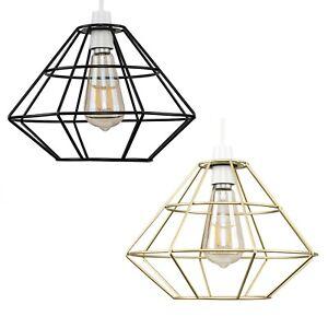 Industrial Metal Cage Ceiling Pendant Light Shade Black Gold Basket LED Bulb