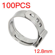 """100PCS 1/2"""" PEX Stainless Steel Ear Clamp Cinch Rings Crimp Pinch Fitting"""