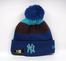 New Era Men's MLB New York YANKEES Block Stripe Blue Beanie Bobble Hat-Taille Unique
