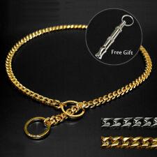Heavy Duty Metal Dog P Choke Chain Collar Pet Dog Show Collar Slip Training Gold