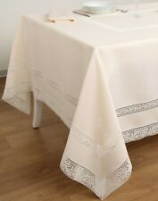 FRETTE DEMETRA PIZZO TABLECLOTH MILK LINEN/LACE +12 NAPKINS MADE IN ITALY $3,100