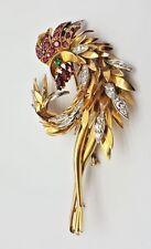 French 18K Gold Diamonds Ruby Emerald Bird Brooch   MAGNIFICENT