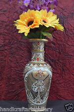 "12"" Marble Flower Vase Real Golden Stoneware Hand Painted Fish Art Handmade H701"