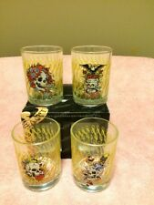 (4) ED HARDY GLASSES--12 OZ--DOUBLE OLD FASHIONED--TUMBLERS---FREE SHIP--NEW