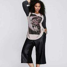 Forever Audrey Womens Black Faux Leather Capri Flare Pants Size 4X Crop