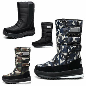 Mens Snow Boots Mid-high Winter Warm Hiking Fishing Boots Non-Slip Rubber Boots