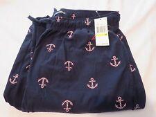Men's NAUTICA Medium Med Anchors Navy Blue Soft Pajama Lounge Long Pants $44