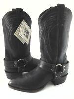 FRYE Cowboy Boots BILLY Harness Rugged Antiqued Black Men's US 8.5 EU 41.5 $358