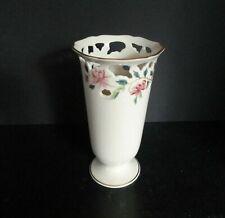 """Lenox Porcelain Vase Barrington Collection Reticulated Floral Vase 8"""" Vintage"""