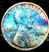 "1914 P Lincoln Wheat Penny Cent- ""Beautiful Toning"" SUPERB CLOSLY UNCIRCULATED03"