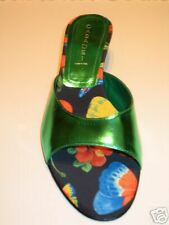 CASADEI METALLIC GREEN BUTTERFLY SLIDES HEELS SHOES 7.5