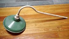"Vintage Antique Gooseneck Green Enamel Metal Barn Gas Station Light Lamp 30"""