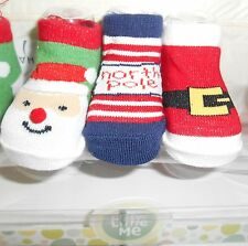 NEW BORN 3 PAIRS SANTA BOOTIES BABY SOCKS 0-12 M Set CHRISTMAS LITTLE ME NEW
