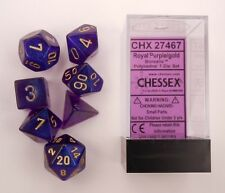 Chessex 7 Dice Set Borealis Royal Purple w/ Gold CHX 27467 for D&D & D20