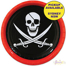 PIRATE PARTY SUPPLIES SKULL & SWORDS 8 SMALL DESSERT PAPER PLATES