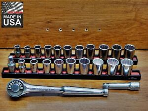 Craftsman USA 3/8 dr 25pc Rare Gold label ratchet 43772 EE socket set SAE Metric