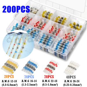 200X 26-10Gauge Waterproof Heat Shrink Solder Seal Wire Connectors Butt Terminal