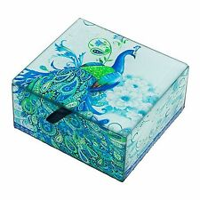 Peacock Keepsake Trinket Box Decorative Accents Boxes Glass Blue Paisley Home