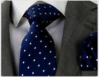 NAVY BLUE & WHITE POLKA SILK TIE (& HANKY) - ITALIAN DESIGNER Milano Exclusive