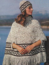 """Ladies Poncho Knitting Pattern with Hat Chunky 34-38"""" Retro 538"""