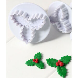 2x Holly leaf Cookie Plunger Cutter Fondant Sugarcraft Mold Cake Decorating