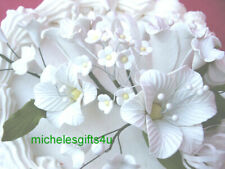 Sugar Gum Paste White Lily Orchids ondant Cake Decorating Flowers FREE SHIP