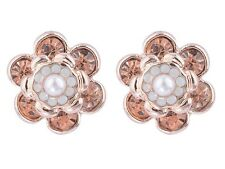 Rose Gold Blossom Flower Crystal Stud Earrings
