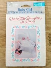 New Carlton Cards New Baby Girl Birth Announcement 8 Cards & Envelopes