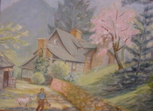 1940s NORTH CAROLINA SPRING MOUNTAIN LANDSCAPE OIL PAINTING~CABIN~PINK TREES~DOG