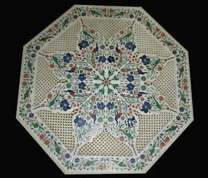 36 Inches Marble Dining Table Top Inlay with Multi Gemstones Decorative Table