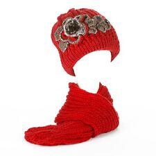 Ladies Chunky Knit Beanie Hat with Fleece Lining & Scarf Set with Faux Pom Pom