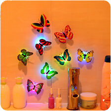 1X 7 Color Changing Beautiful Cute Butterfly LED Night Light Lamp Stick Wall Car