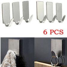 New 6X Adhesive Kitchen Wall Door Stainless Steel Stick Holder Hook Hanger BU AU