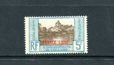 FRENCH POLYNESIA 130, 1941 5F MOOREA, OVERPRINTED, MINT, VLH (ID6858)