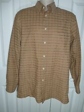 Mens Polifroni Milano 100% Cotton Tan Plaid Long Slv Button Shirt Size Medium