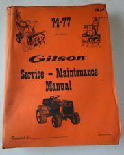 Older Gilson Lawn Mower Tractor Tiller Parts /Service Maintenance Manual 1974-77