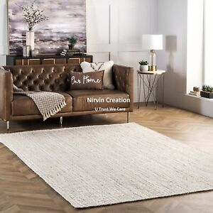 White Rug Jute 100% Natural Jute Style Rug Reversible Braided Modern Rustic Look