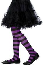 NERO & porpora a righe aderente ragazze Halloween Strega Fancy Dress Costume Accesory