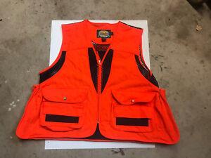 Cabela's Unisex Hunting Vest Orange V Neck Zipper Flap Pockets Lined Acrylic XL