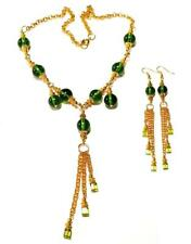 GOLD STATEMENT NECKLACE EARRING SET Green gypsy vintage antique style boho prom