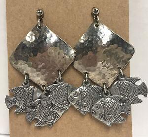 Sterling Silver Fish Dangle Post Earrings, Diamond Shape Hammered